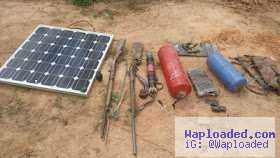 Solar Panels,Grenades, Motorcycle & Other Items Recovered From Boko Haram During Operation.